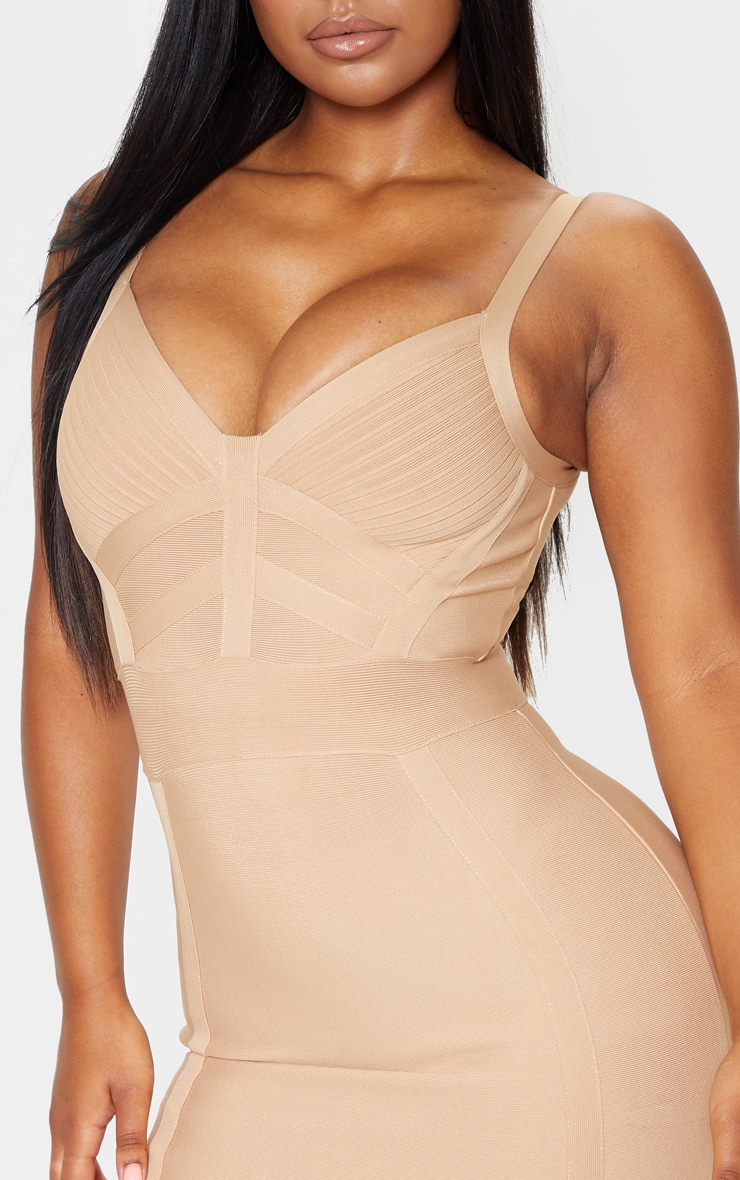 Champagne Nude Bandage Panelled Bodycon Dress 5
