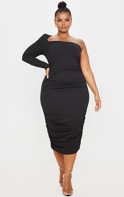 Plus Black One Shoulder Ruched Detail Midi Dress