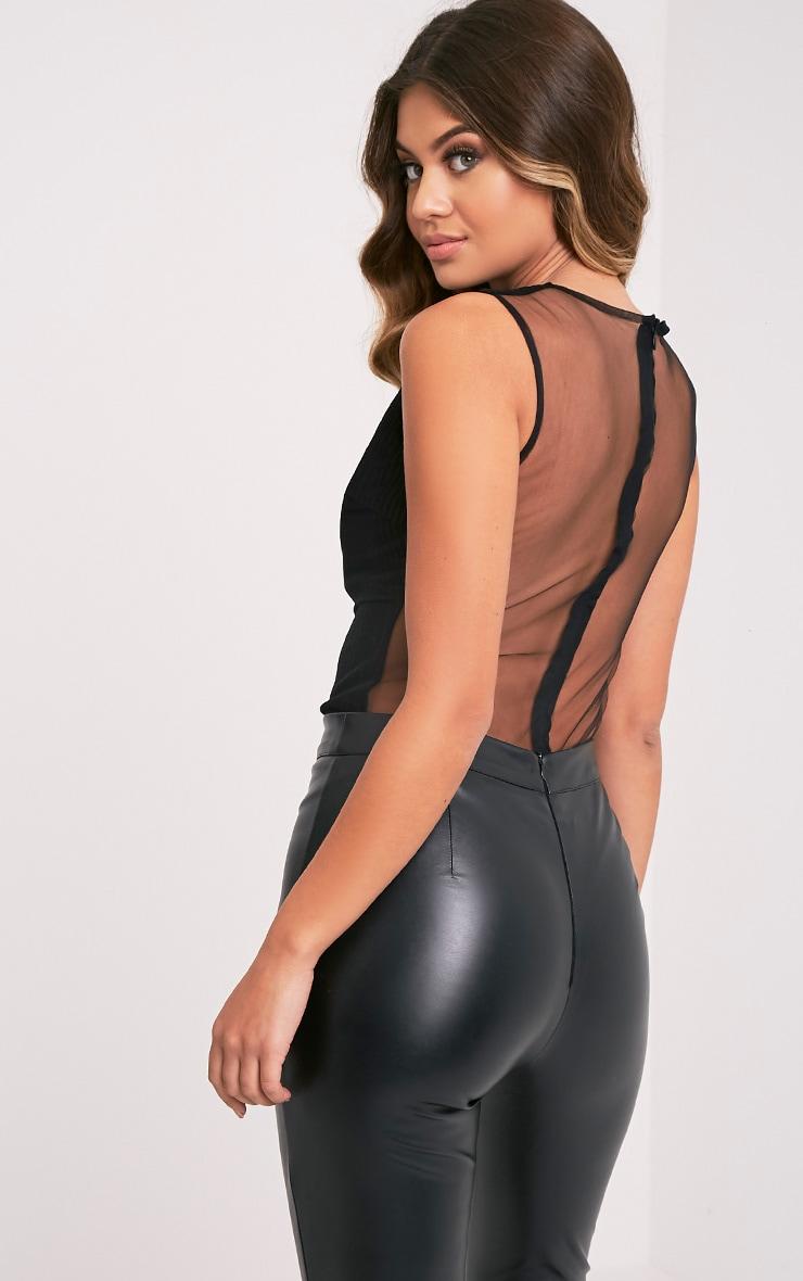 Beth Black Stripe Mesh Sheer Thong Bodysuit 7