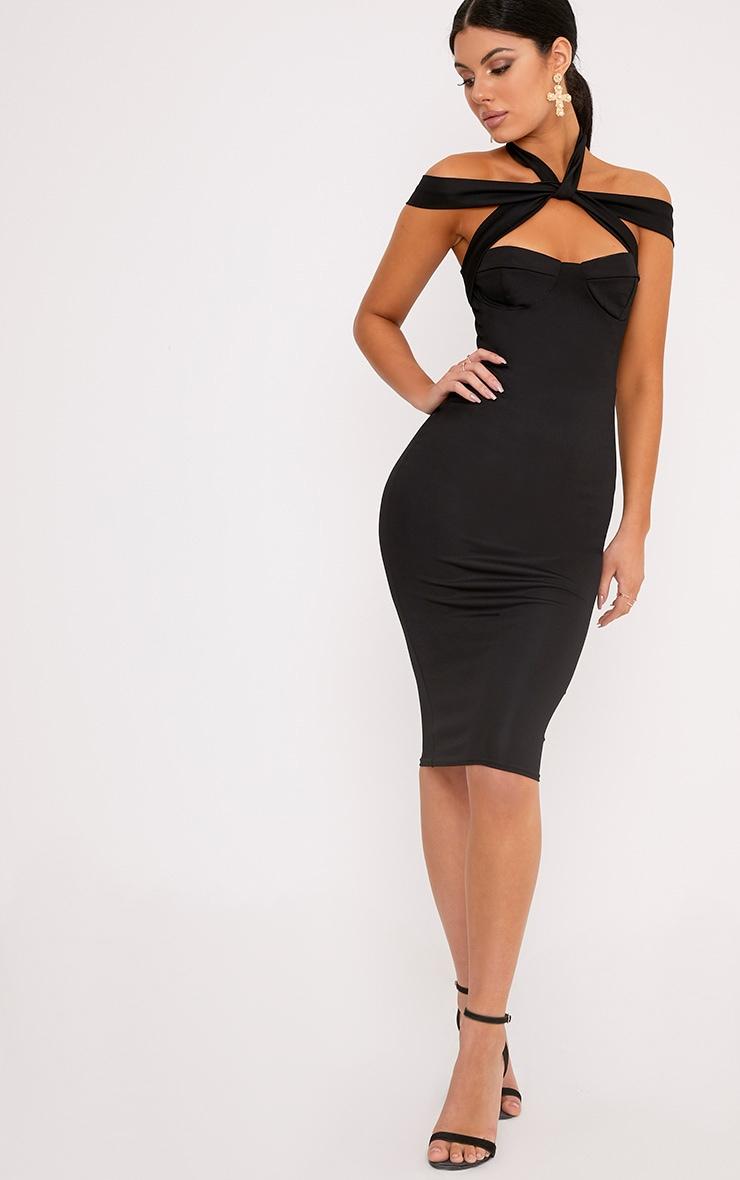 Pandara Black Strappy Top Detail Midi Dress 4