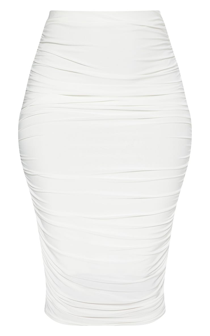 White Slinky Second Skin Ruched Midi Skirt 3