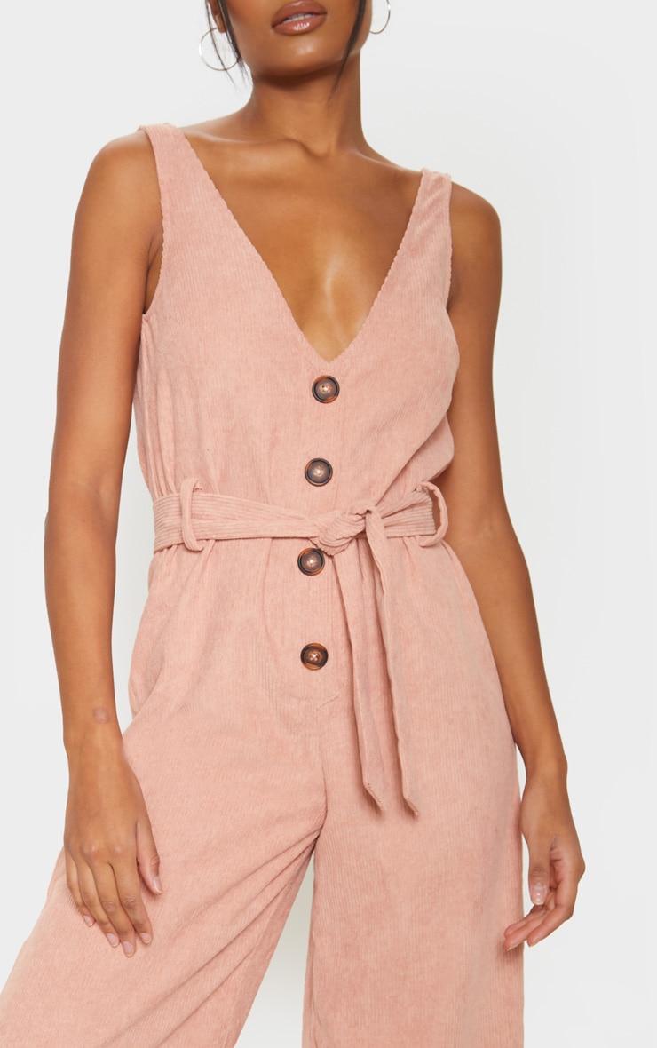 Blush Cord Button Front Culotte Jumpsuit 5