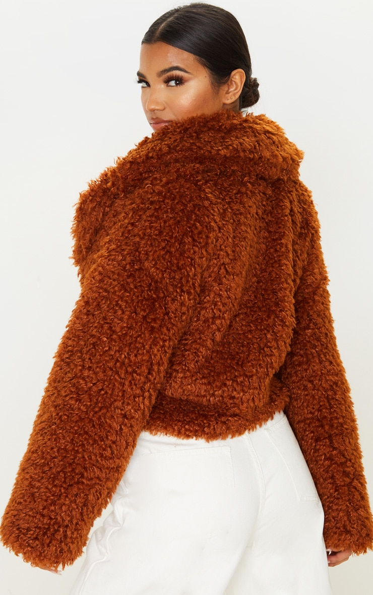 Brown Cropped Teddy Faux Fur Coat  2