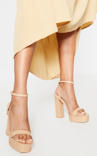 Nude Platform High Strappy Sandal