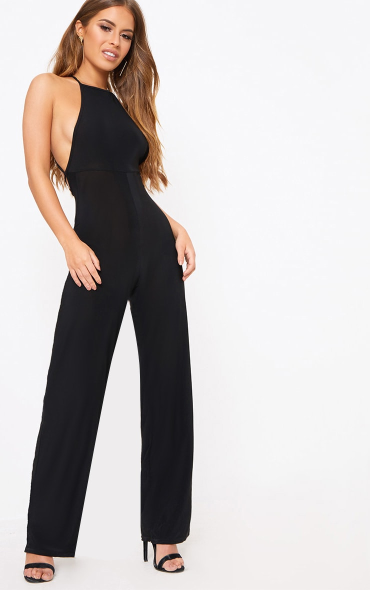 Petite Black Tie Back Strappy Jumpsuit 1