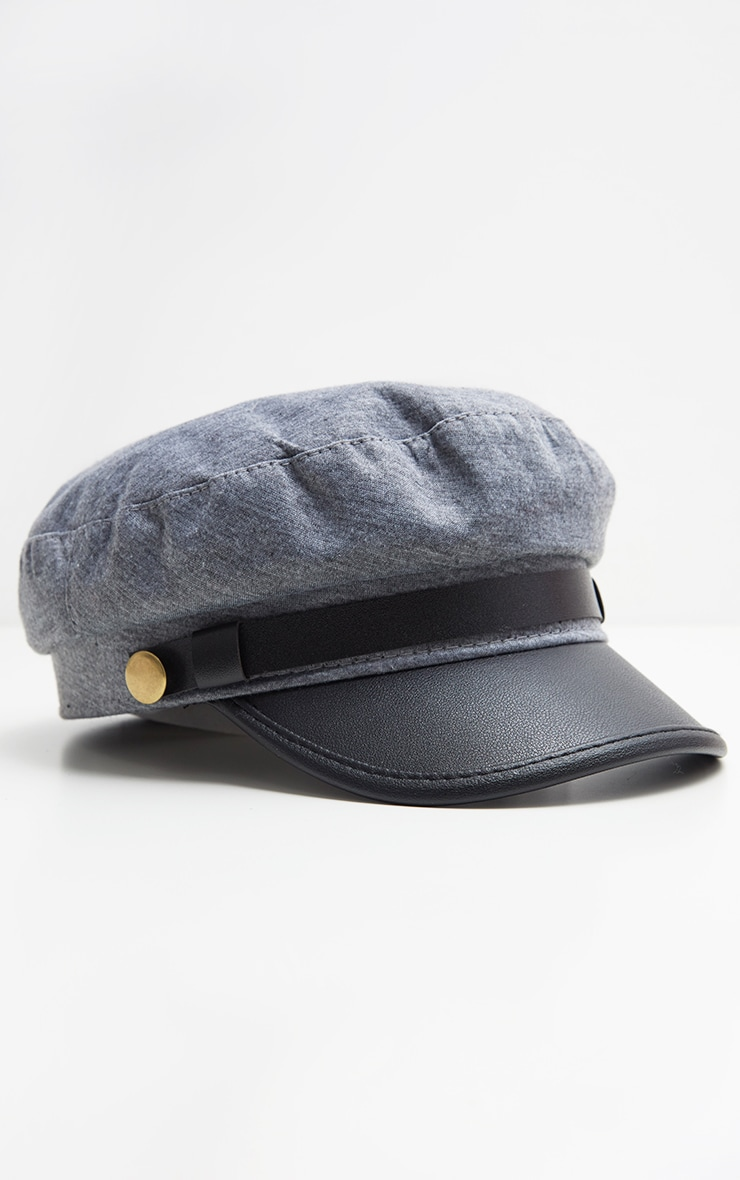 Grey Military Baker Boy Hat 2