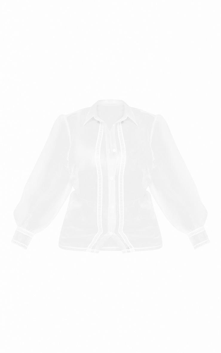 Plus White Organza Puff Sleeve Blouse  3