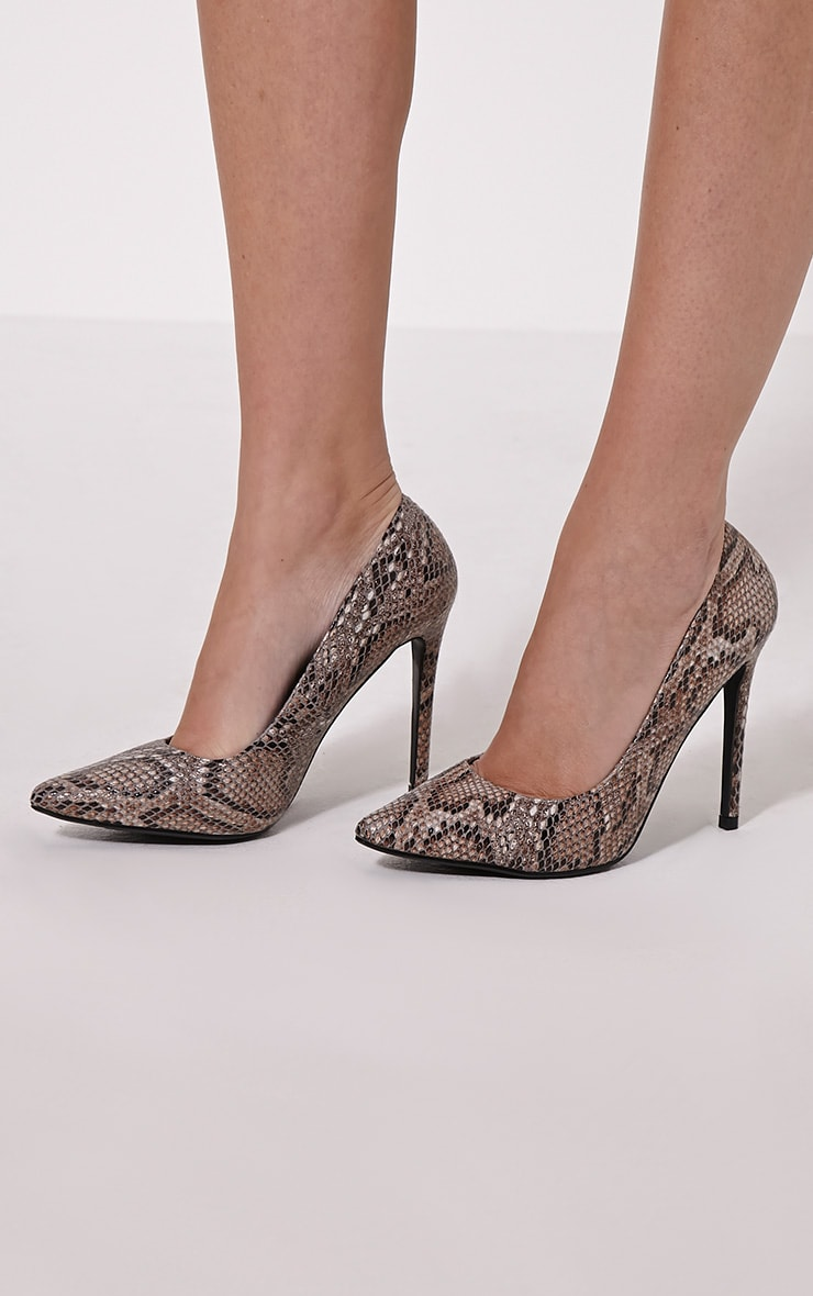 Tina Natural Snakeskin Court Shoes 1