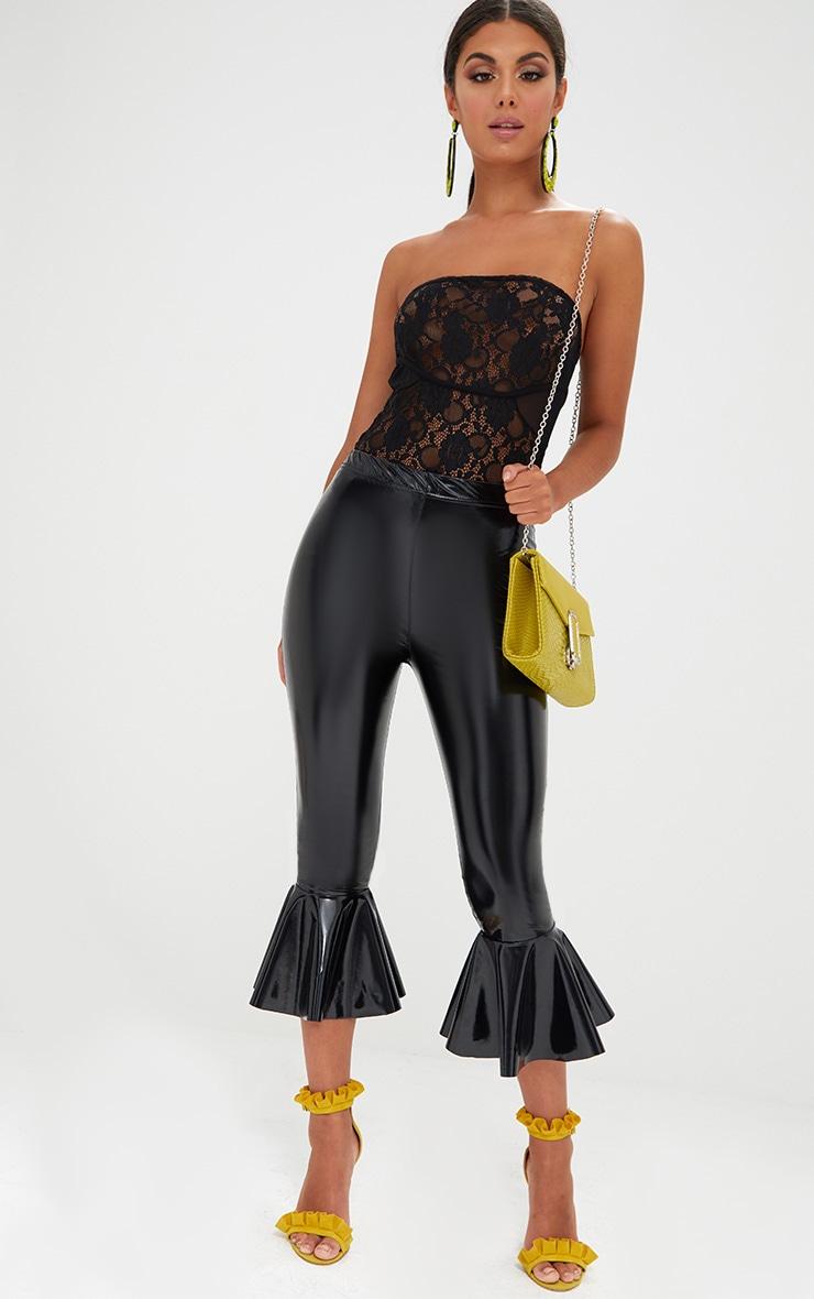 Black Mesh Insert Lace Bandeau Thong Bodysuit 4
