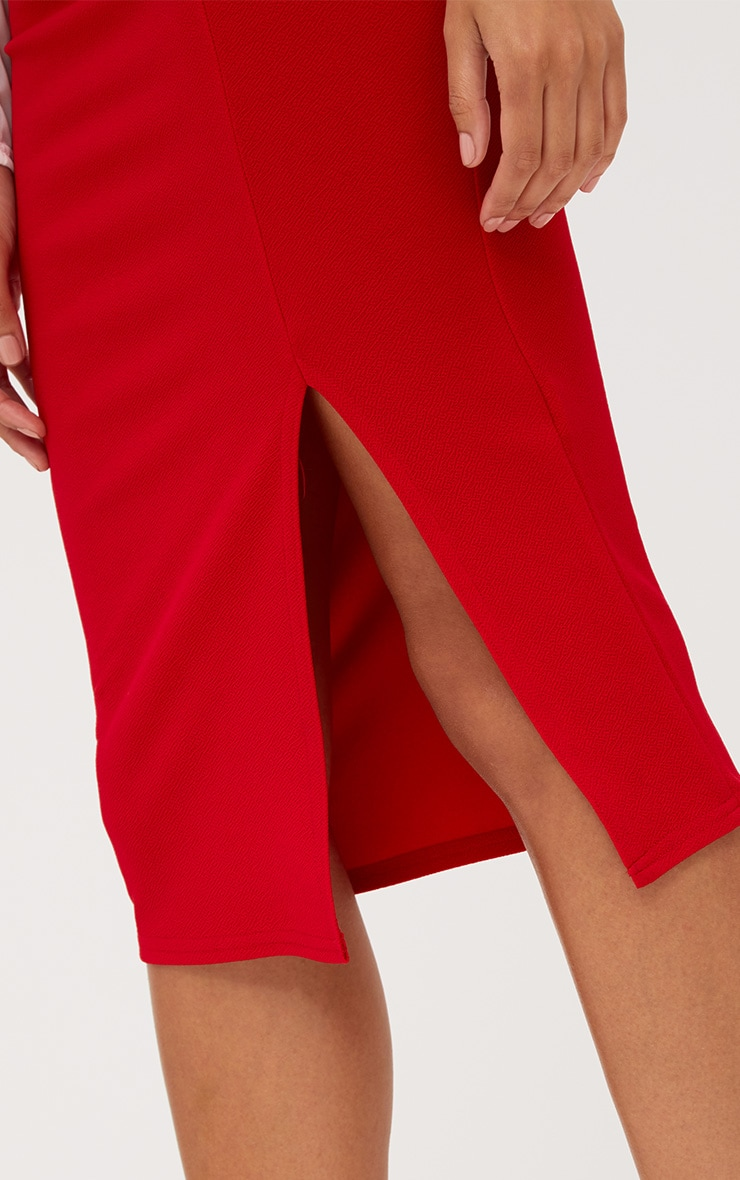 Red Basic Split Midi Skirt 5