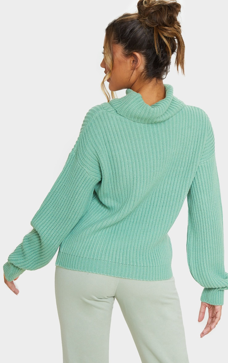 Sage Green Rib Oversized Roll Neck Jumper 2