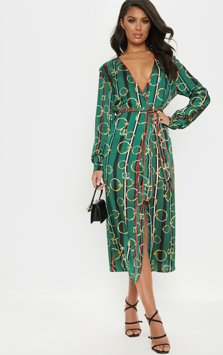 Green Satin Chain Print Belted Midi Dress 1