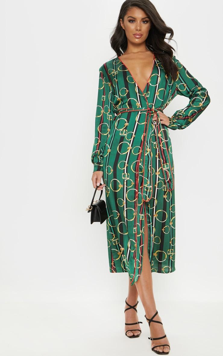 Robe mi-longue verte plissée à imprimé chaîne & ceinture 1