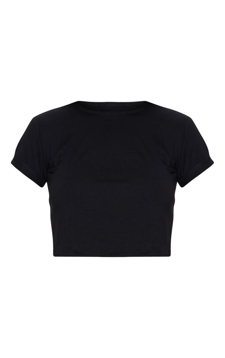 Basic Black Cotton Blend Roll Sleeve Crop Top 5