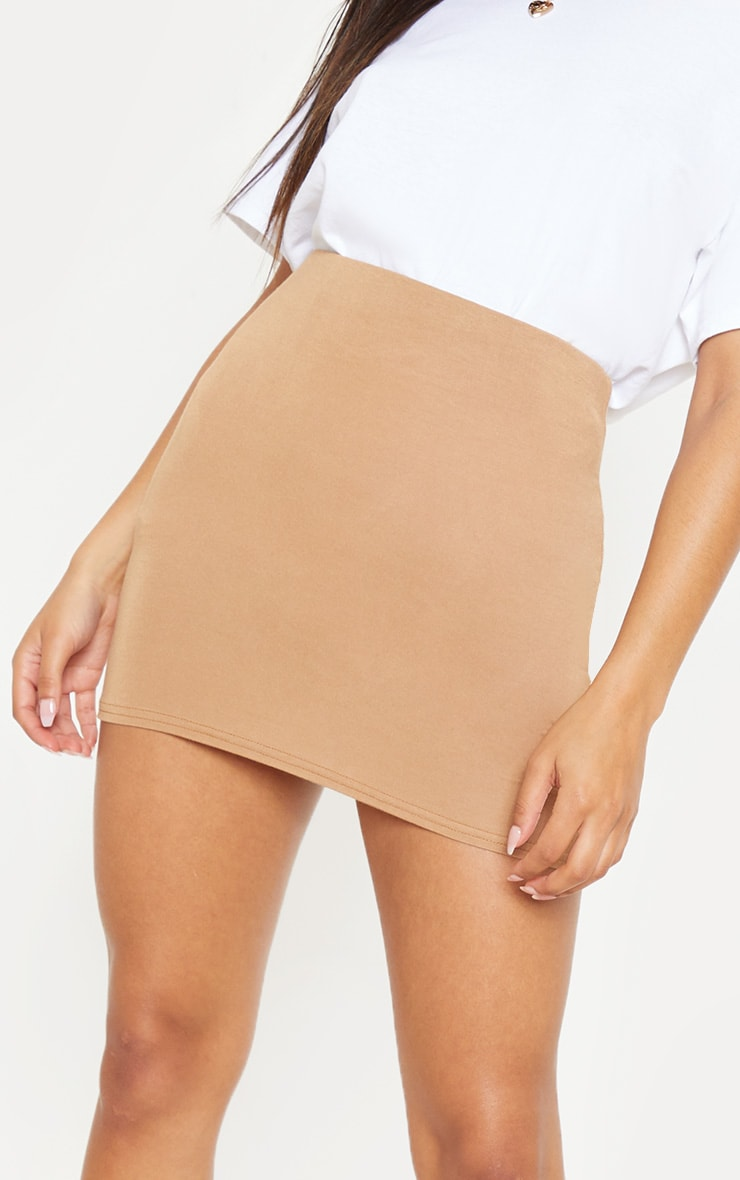 Basic Camel Jersey Mini Skirt 6