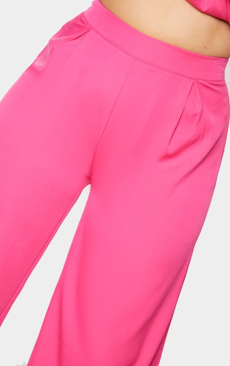 Plus Hot Pink Pleat Detail Wide Leg Pants 4