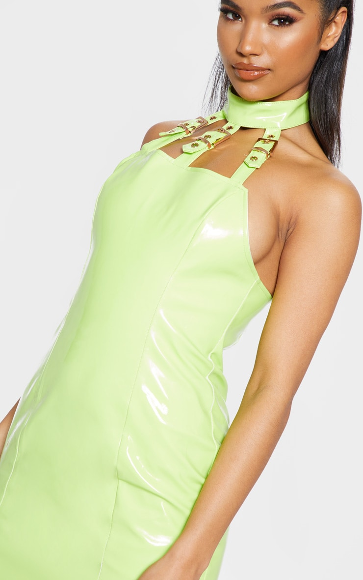 Neon Lime Vinyl Buckle Detail Bodycon Dress 5