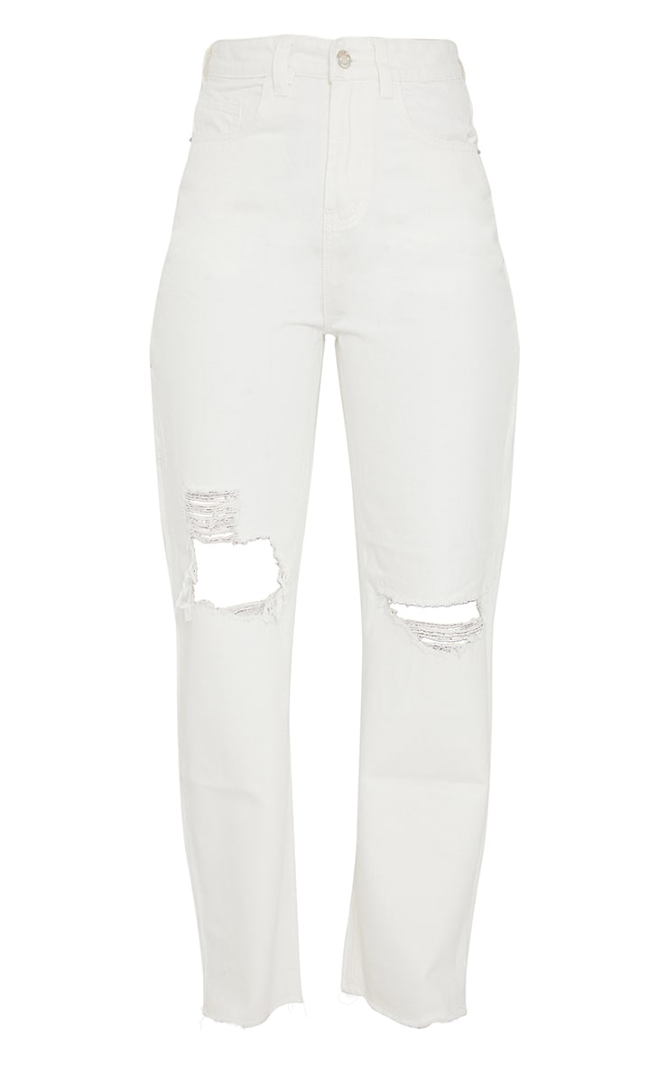 White Cargo Distressed Baggy Jeans 5