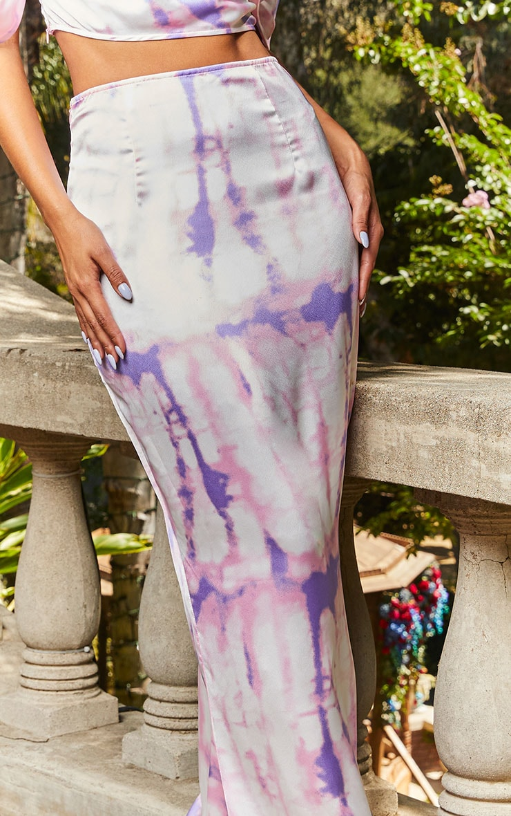 Pink Tie Dye Print Maxi Skirt 4