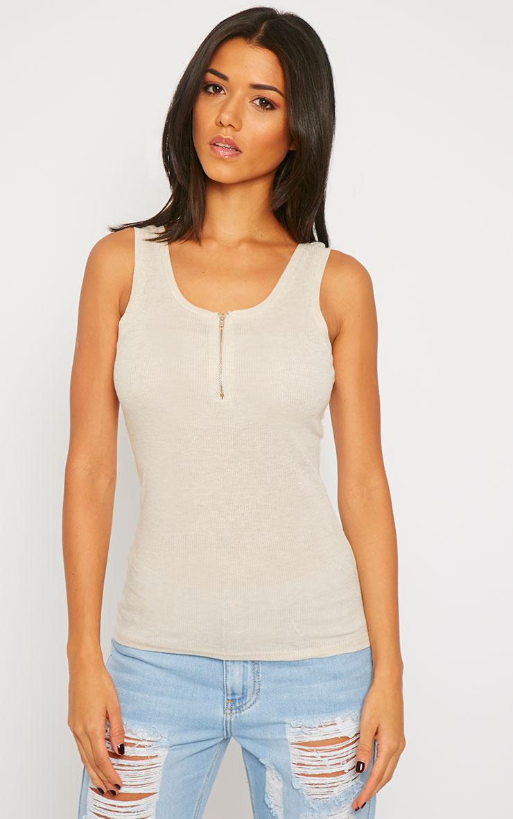 Basic Beige Zip front Ribbed Jersey Vest 4