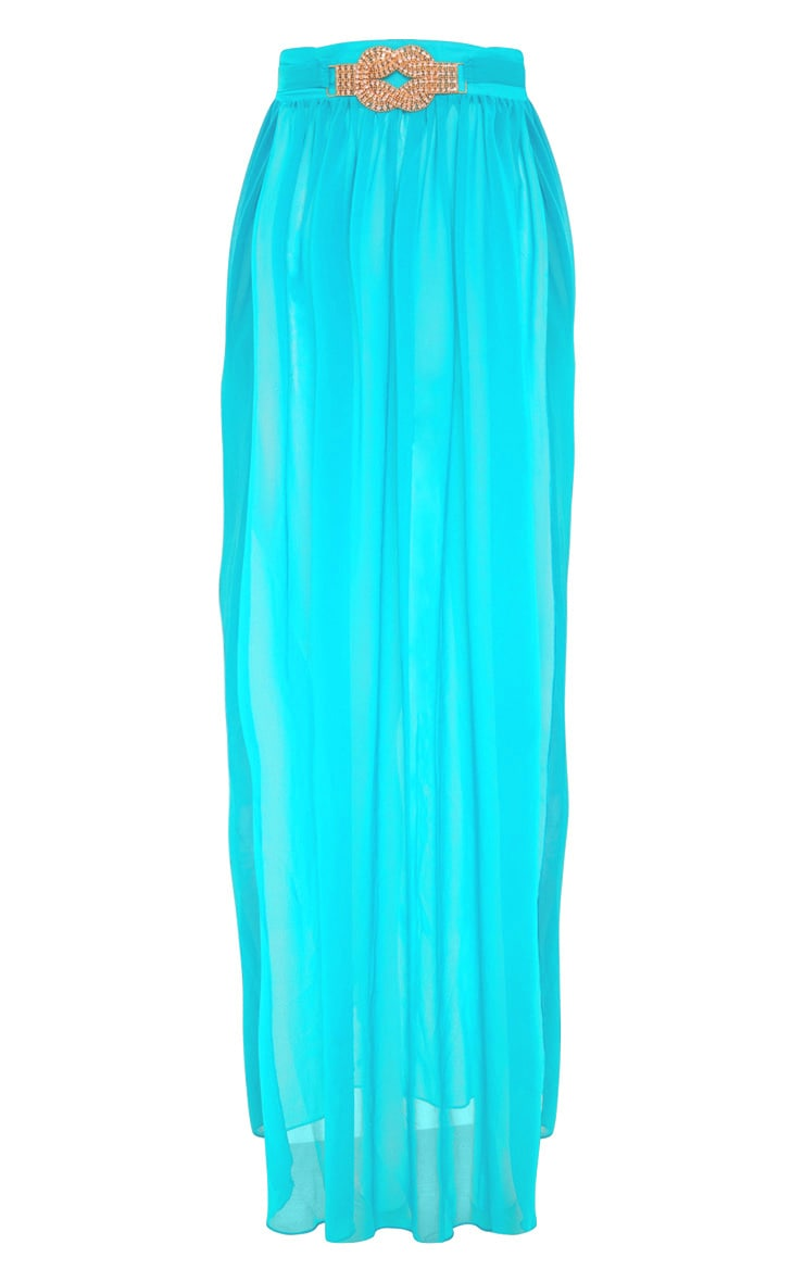 Teal Chiffon Diamante Jewel Beach Skirt 3