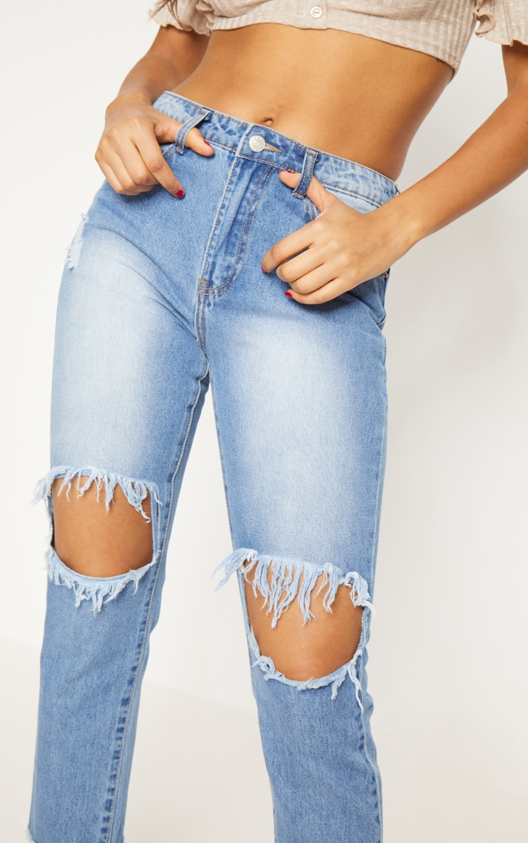 Light Wash Open Knee Slim Fit Jean 6