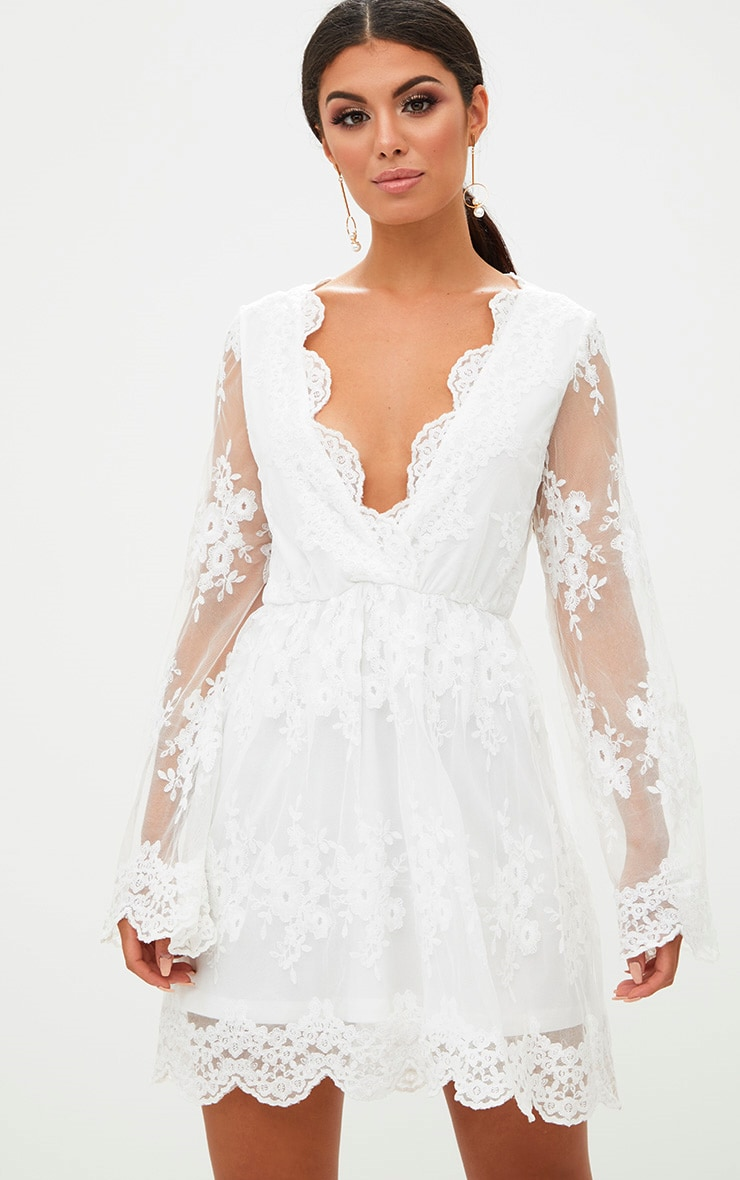 White Lace Plunge Bell Sleeve Skater Dress  1