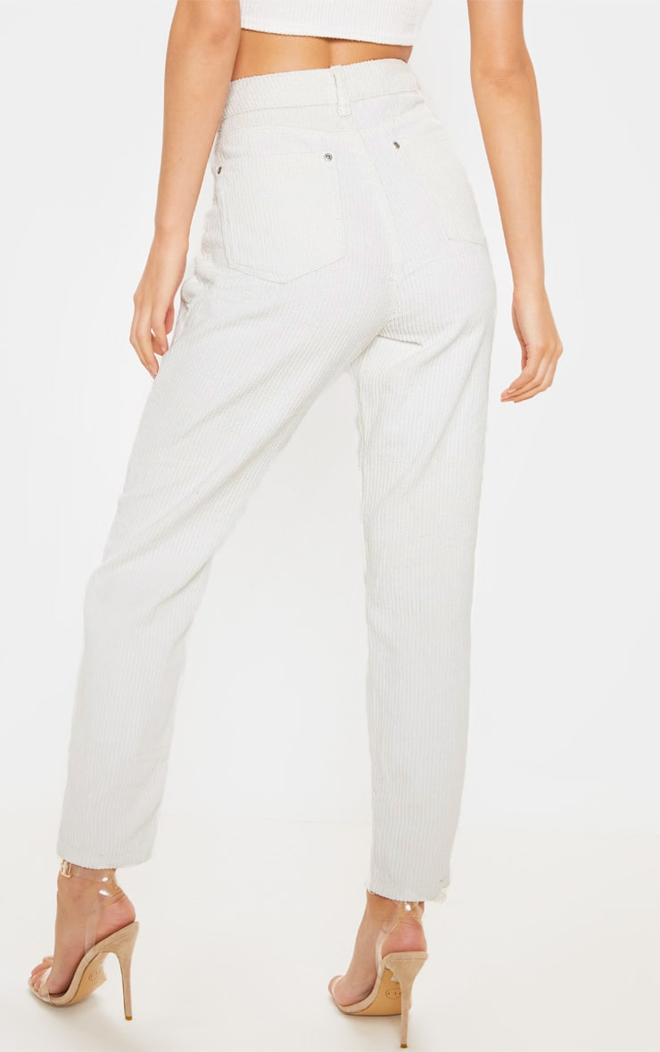 Cream Jumbo Cord Mom Jeans  4