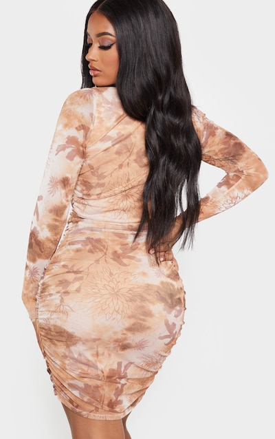 Shape Nude Oriental Print Long Sleeve Bodycon Dress