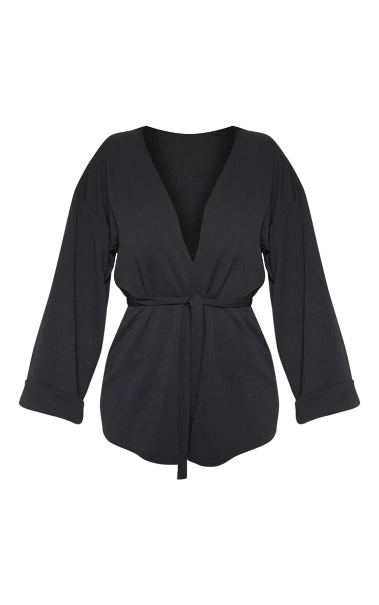 Black Belted Oversized Sleeve Blazer 3