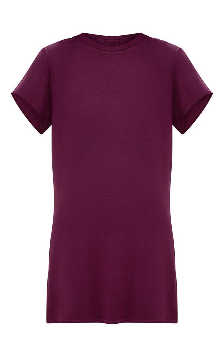 Basic Aubergine Short Sleeve T-Shirt Dress 3