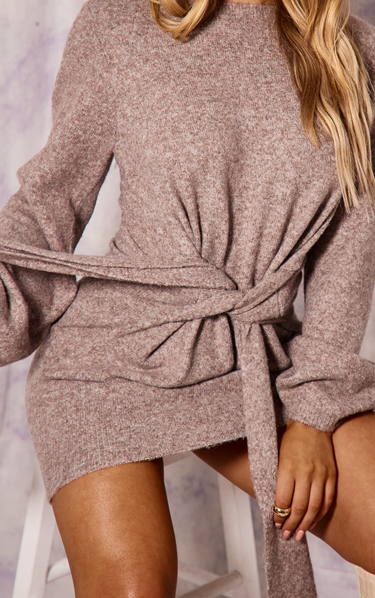 Recycled Mocha Knitted Tie Front Wide Sleeve Dress 4