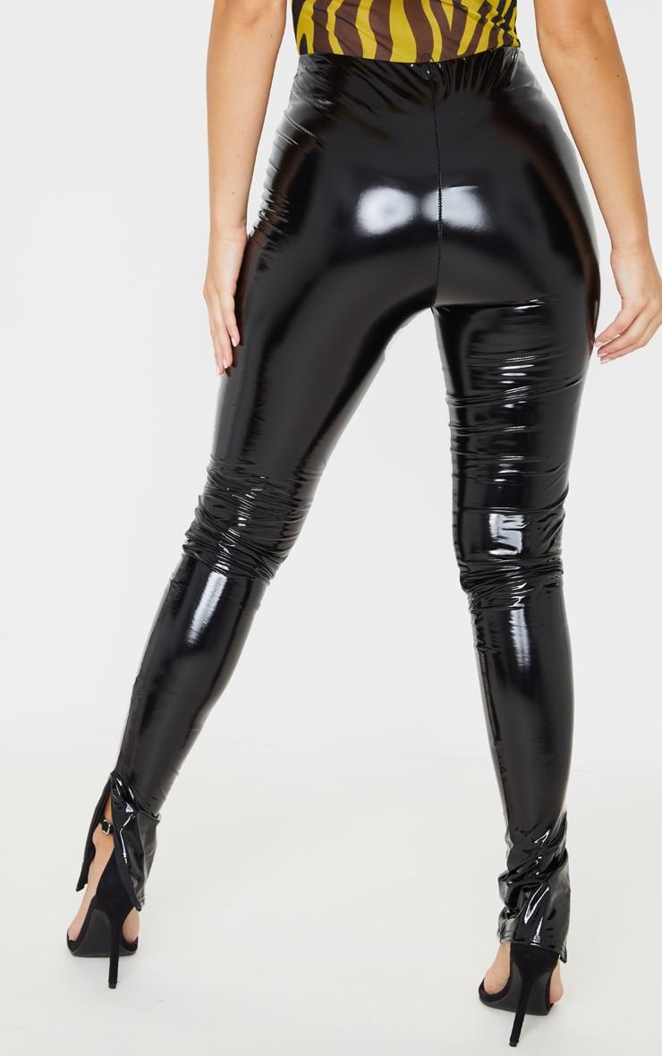 Black Vinyl Split Hem Skinny Trousers 4