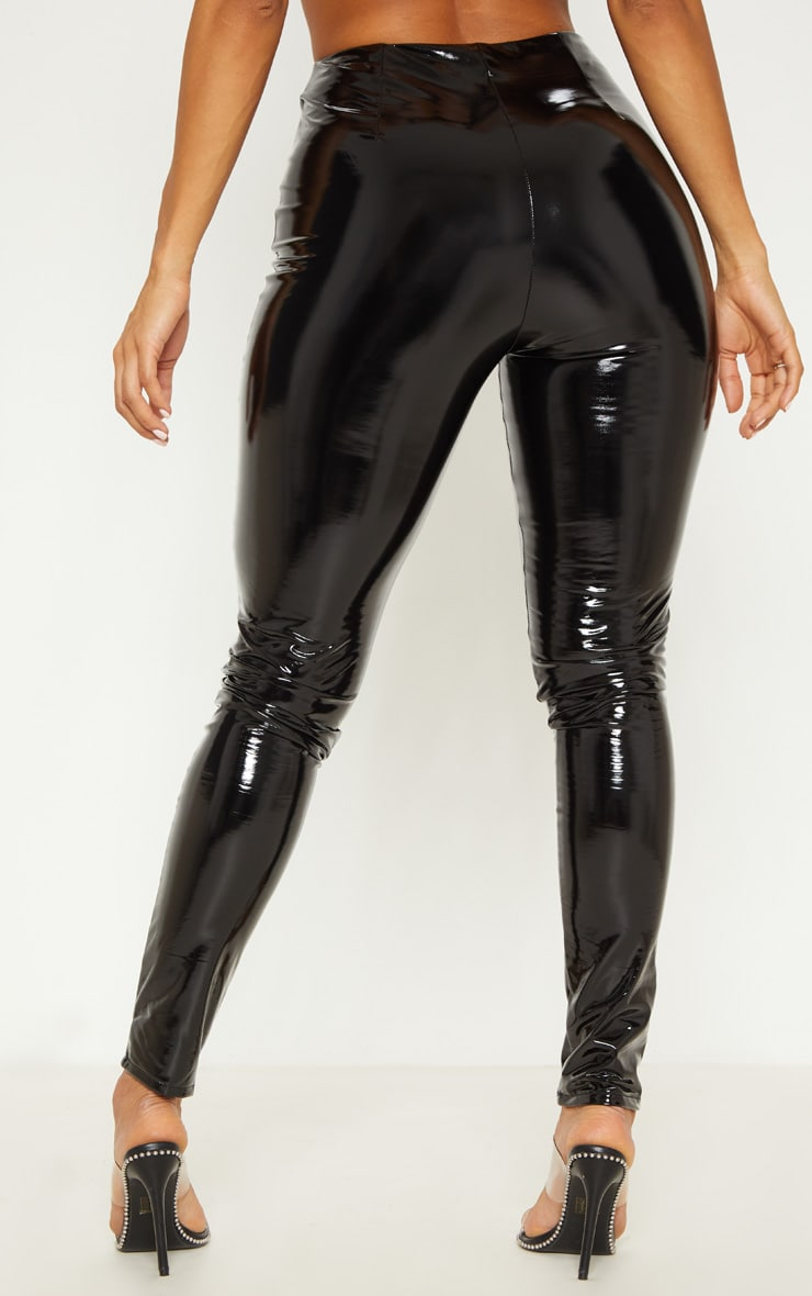 Black Contrast Stitch Vinyl Pants 4
