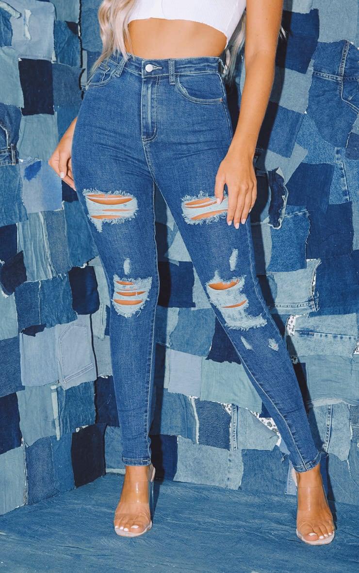 PRETTYLITTLETHING Mid Wash Distressed 5 Pocket Skinny Jean 2