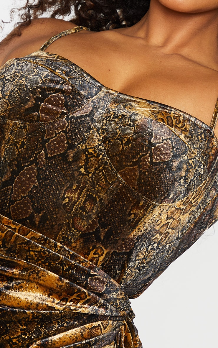Plus Brown Velvet Snake Print Structed Corset Top 4