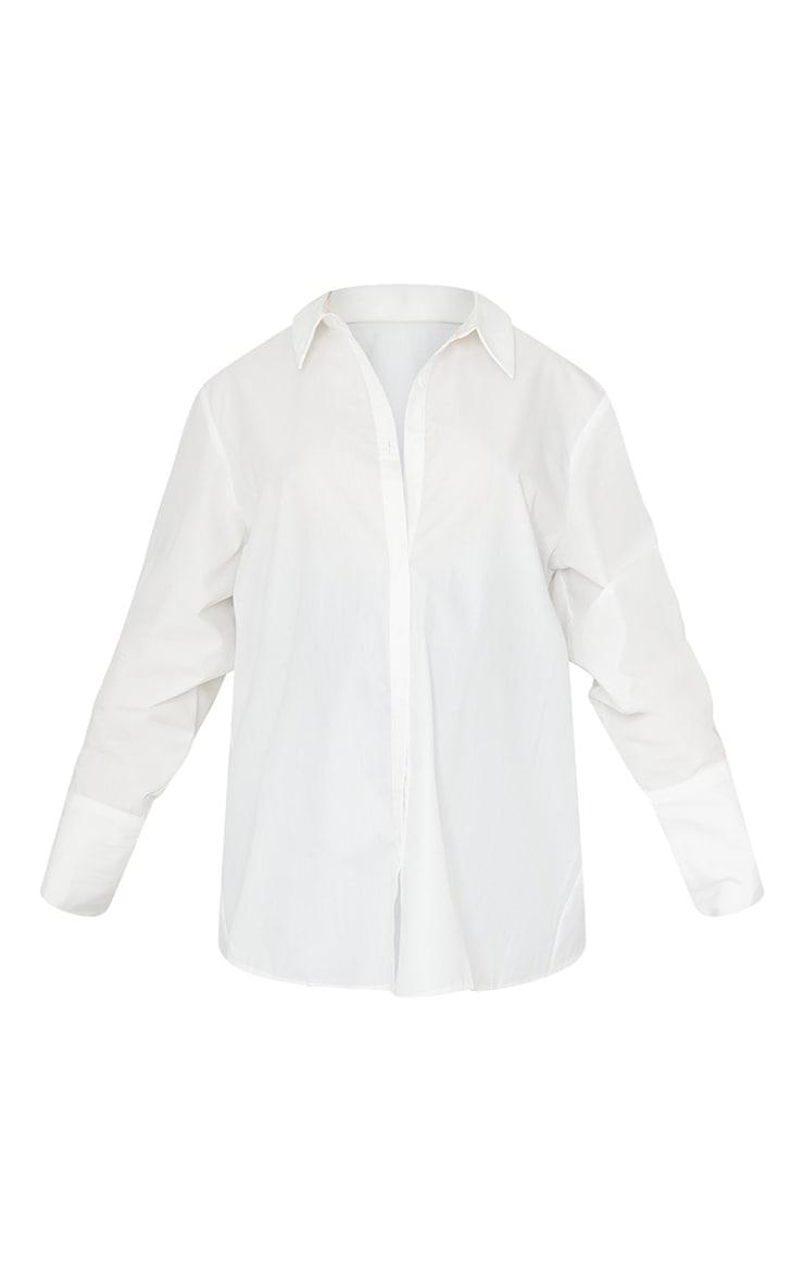 Maternity White Oversized Cuff Poplin Shirt 5