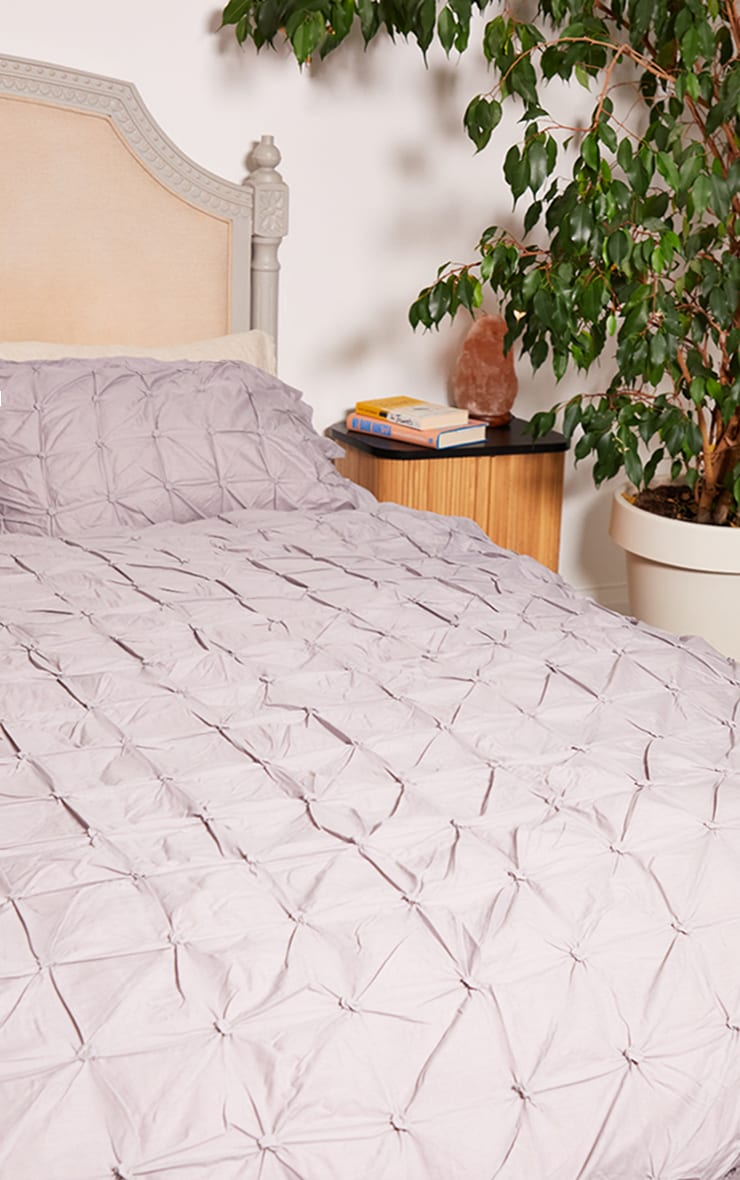 Grey Ruched Pin Tuck Super King Duvet Set 2
