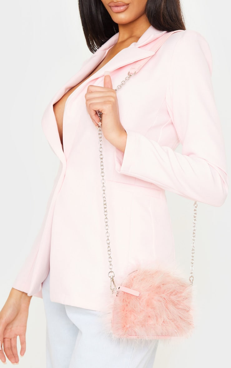 Pink Marabou Feather Large Clutch Bag 1