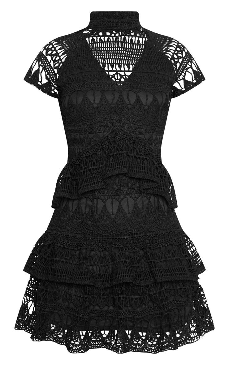 Black Crochet High Neck Lined Frill Skater Dress 3