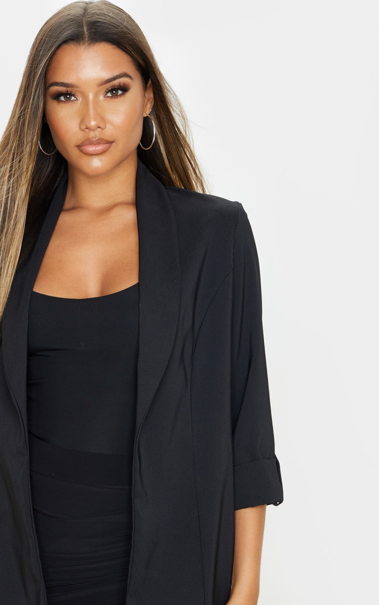 Black Woven Turn Up Sleeve Blazer 5
