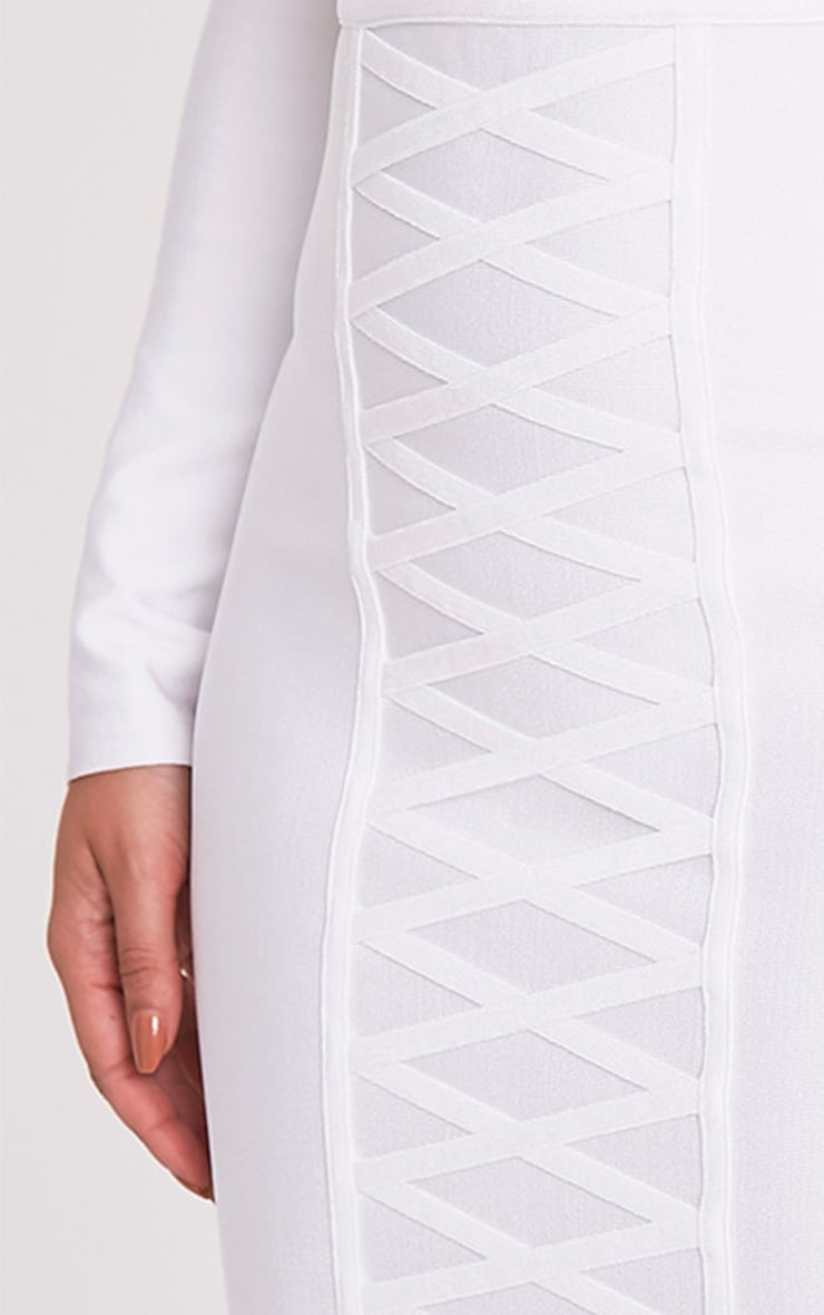 Kailyn White Bandage Lattice Detail Midi Skirt 5