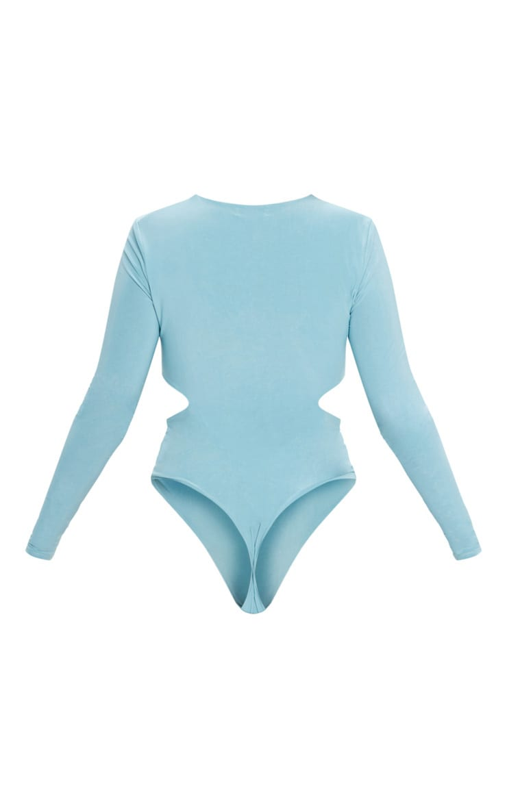 Dusty Turquoise Slinky Plunge Neck Cut Out Bodysuit 4