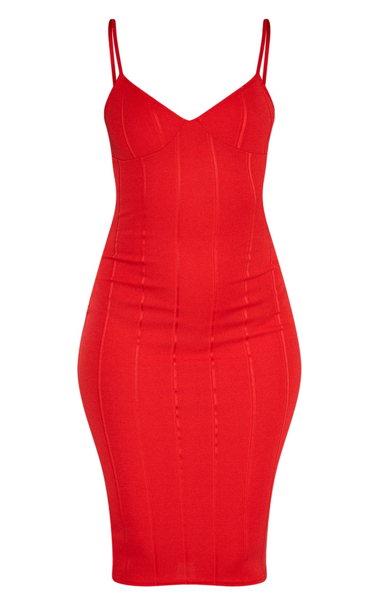 Red Bandage Strappy Cup Detail Midi Dress 3