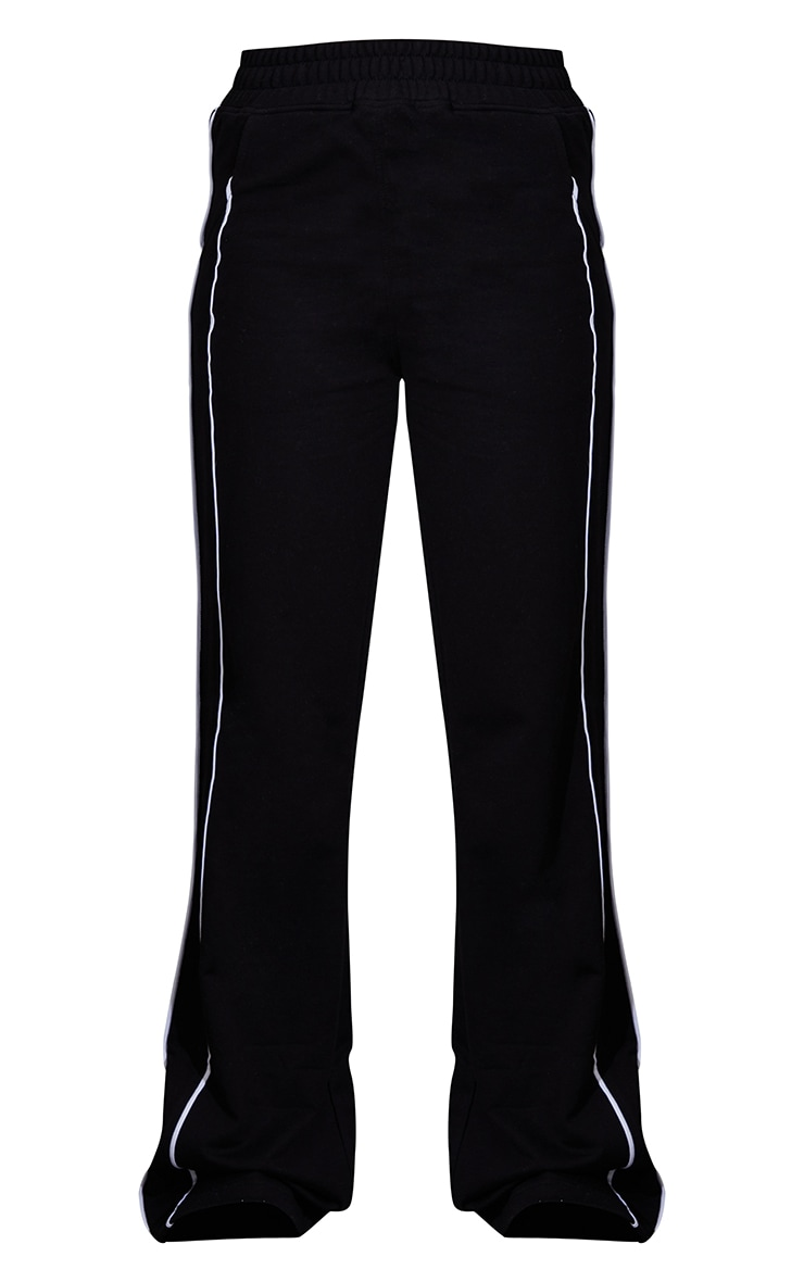 Black Piping Detail Wide Leg Joggers 5