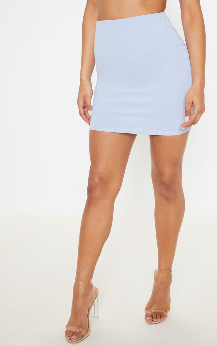 Light Blue Crepe Bodycon Skirt 2
