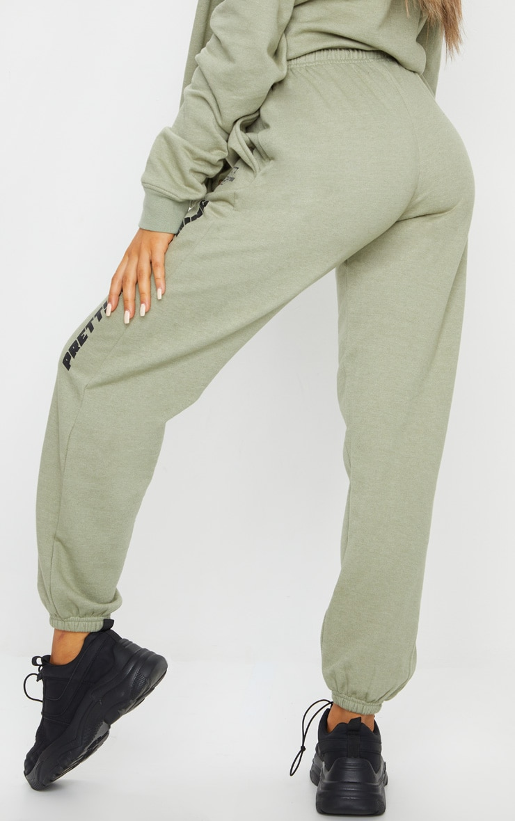 PRETTYLITTLETHING Sage Green Slogan Joggers 3