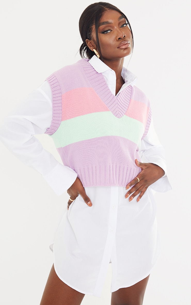Tall Pastel Striped Cropped Vest 1