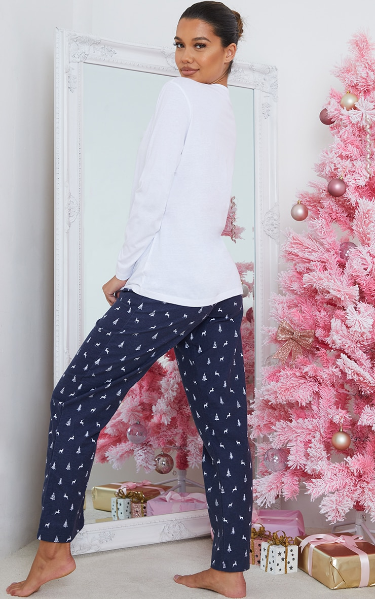Blue Reindeer Printed Long Sleeve PJ Set 2