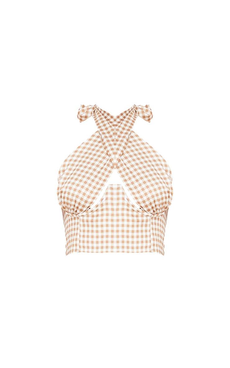 Brown Check Print Woven Underbust Halterneck Crop Top 5